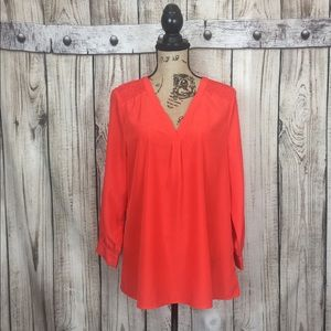41 Hawthorne Orange V-Neck Half Button Blouse XL